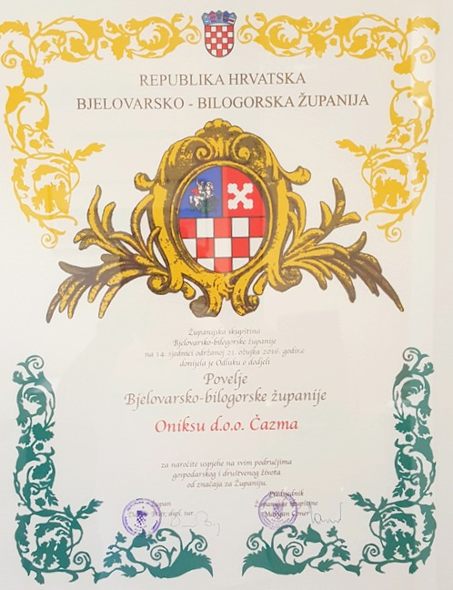 Onyx Ltd. winner of the muniment of the Bjelovar- bilogora County